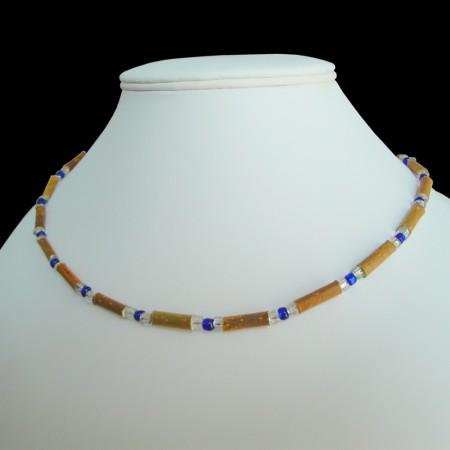 Collier Perles bleues foncées