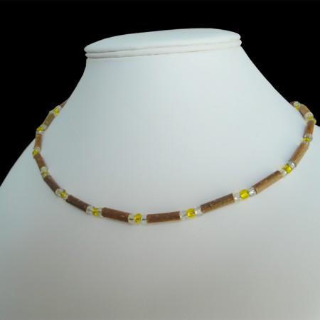 Collier Perles jaunes