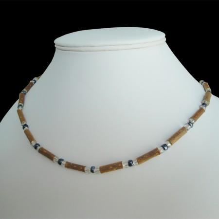 Collier Perles grises anthracites