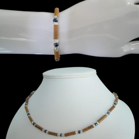 Parure perles grises anthracites