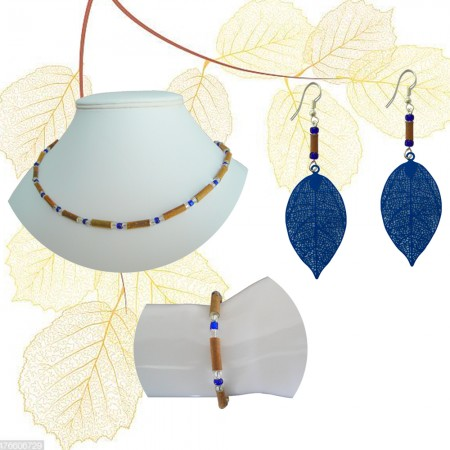 Parure perles bleues foncé
