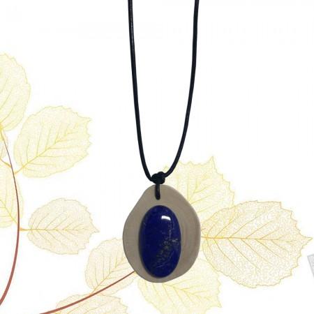 Médaillon en Noisetier et Lapis Lazuli